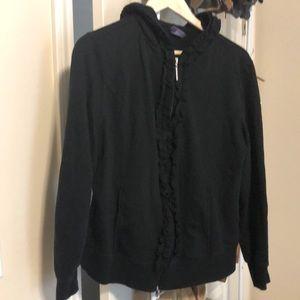 Hooded ruffle jacket